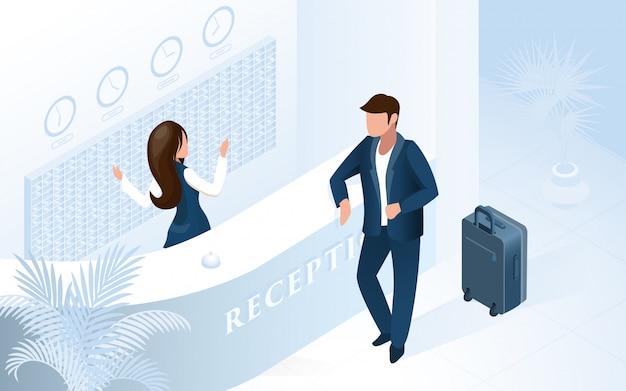 Receptionist donna al banco welcome man in hotel Vettore Premium