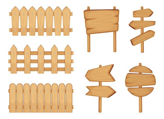 Recinzioni di giardino e segni con struttura in legno. isolato dell'insieme dell'illustrazione di vettore su bianco Vettore Premium