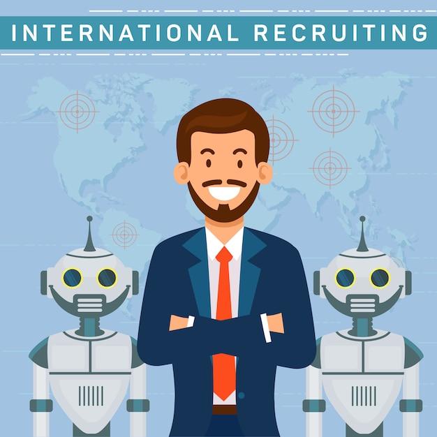 Reclutamento internazionale, responsabile risorse umane con robot. Vettore Premium