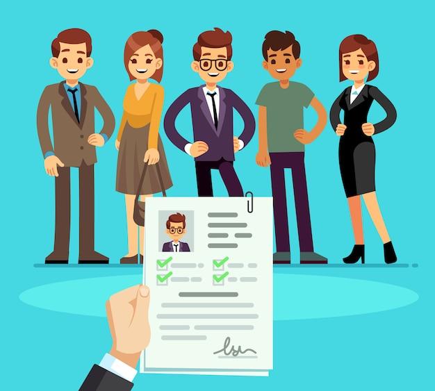Reclutamento. reclutatore che sceglie i candidati con curriculum vitae. risorse umane e colloquio di lavoro Vettore Premium