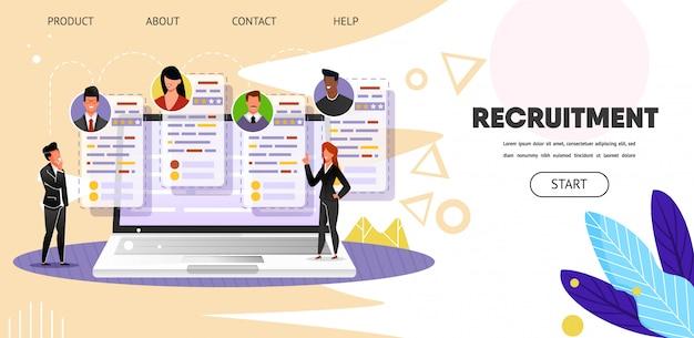Reclutamento. ricerca di lavoro online. web, pagina di destinazione Vettore Premium