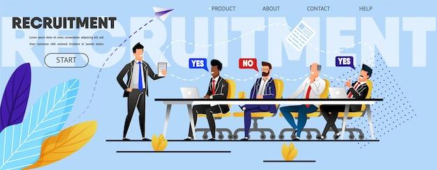 Reclutamento. riunione del personale. modello di pagina di destinazione Vettore Premium