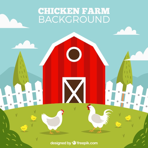 Red henhouse e polli sfondo Vettore gratuito