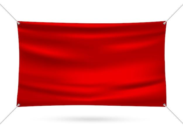 Red mock up banner in vinile Vettore Premium