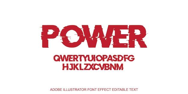 Red power effetto testo modificabile Vettore Premium
