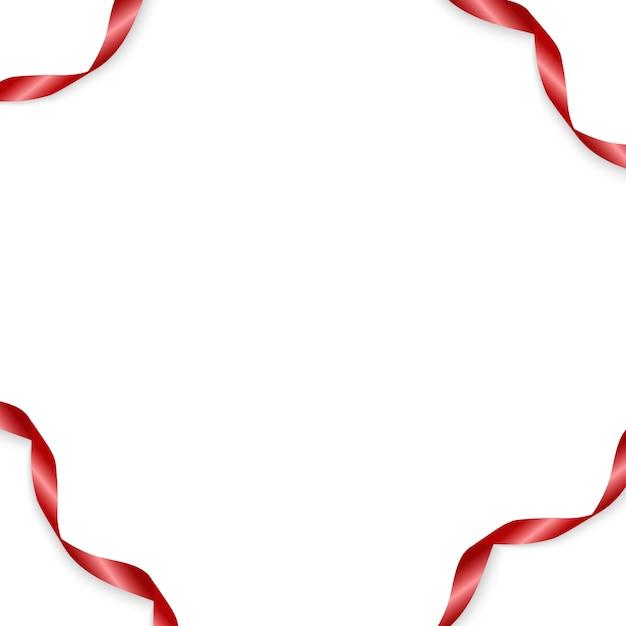 Red ribbon 3d realistic Vettore Premium