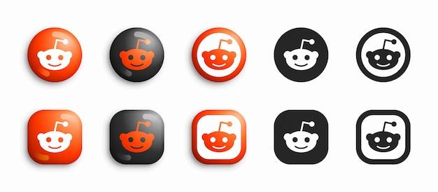 Reddit 3d moderno e set di icone piane Vettore Premium