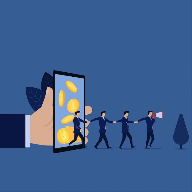 Referral aziendale da ricompensa online mobile e pubblicità con relatore. Vettore Premium