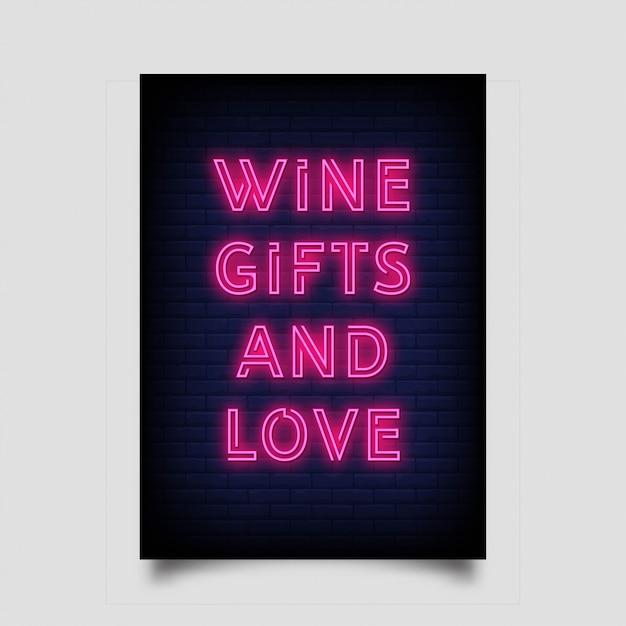 Regali di vino e amore per poster in stile neon. Vettore Premium
