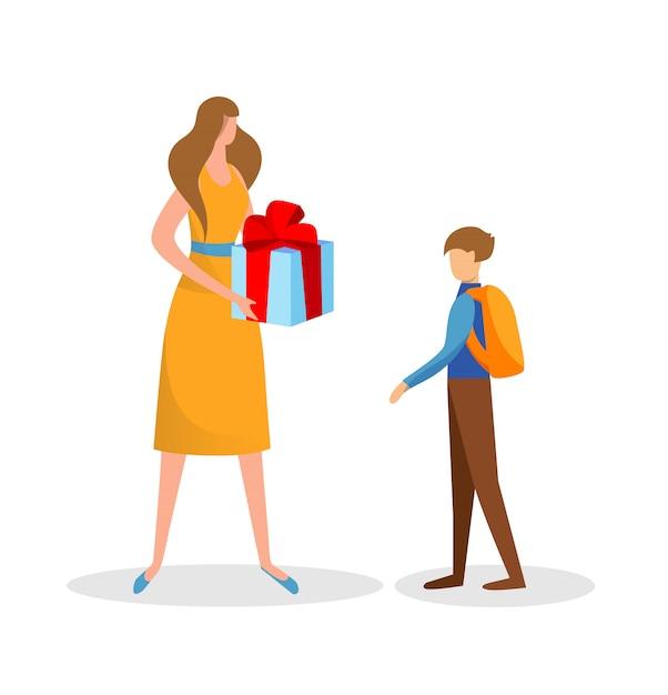 Regalo a sorpresa preparato dalla madre per il figlio. compleanno. Vettore Premium