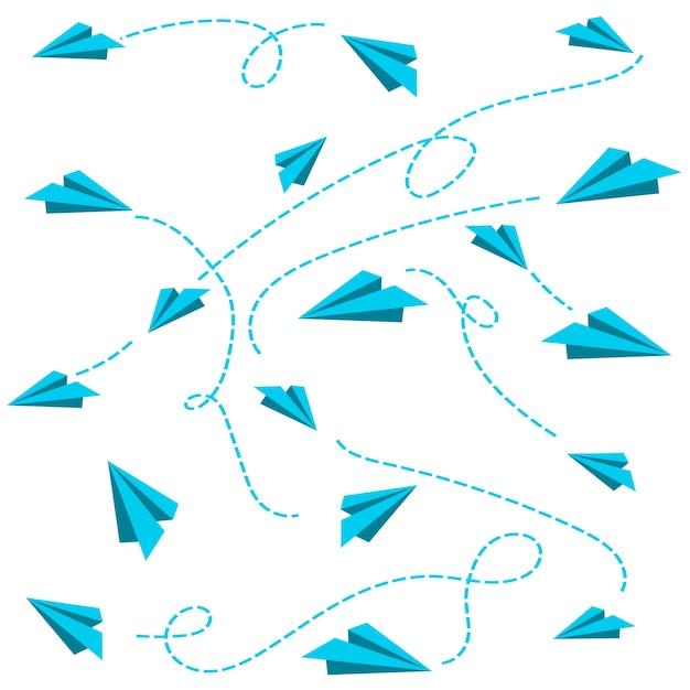 Regalo di imballaggio del paperplane volante Vettore Premium