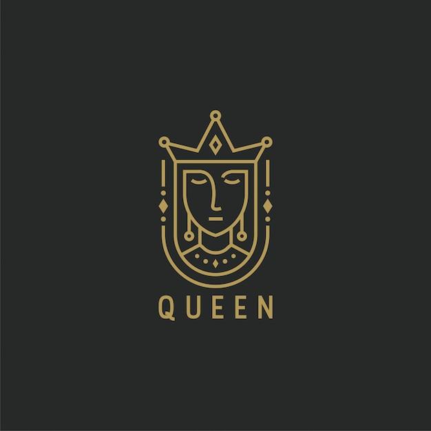 Regina con modello di logo stile linea Vettore Premium