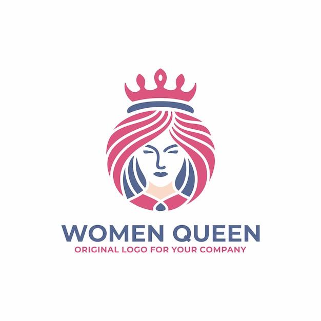 Regina di lusso, donna, viso, salone, modello di progettazione di logo di bellezza. Vettore Premium