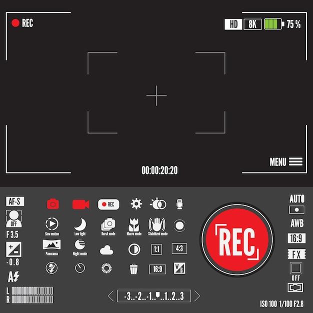 Registra il simbolo di video o foto. schermata dei mirini o anteprima di registrazione dei filmati Vettore Premium