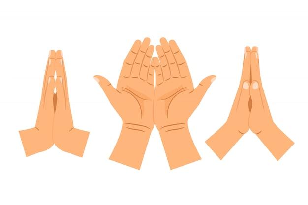 Religione che prega le mani isolate Vettore Premium