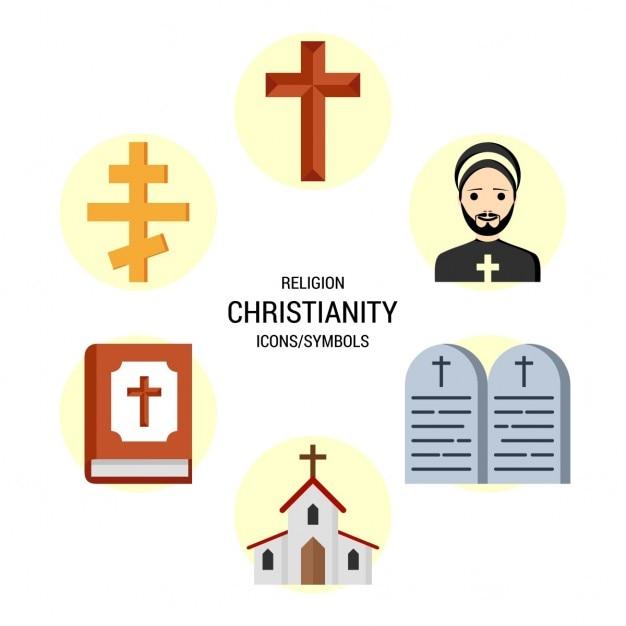 Religione cristianesimo set di icone Vettore gratuito