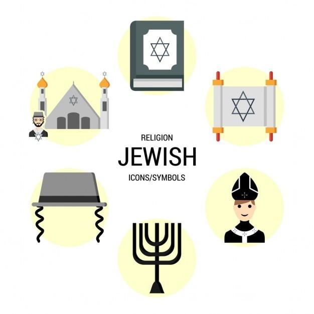 Religioni ebraica simboli icona Vettore gratuito