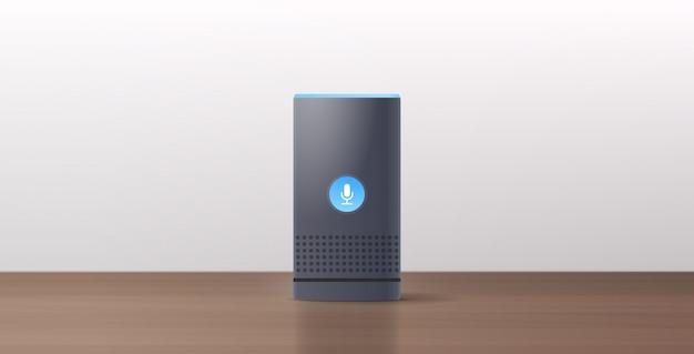 Relive smart speaker sul tavolo di legno riconoscimento vocale attivato assistenti digitali automatizzato rapporto di comando concetto orizzontale piana Vettore Premium