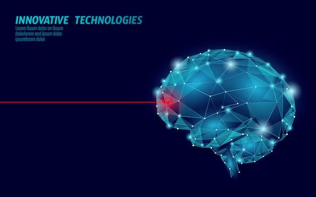 Rendering 3d di trattamento del cervello. la riabilitazione cognitiva del laser della medicina nella malattia di alzheimer e nella demenza vector l'illustrazione Vettore Premium