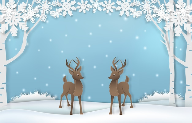 Renna carina con fiocco di neve Vettore Premium