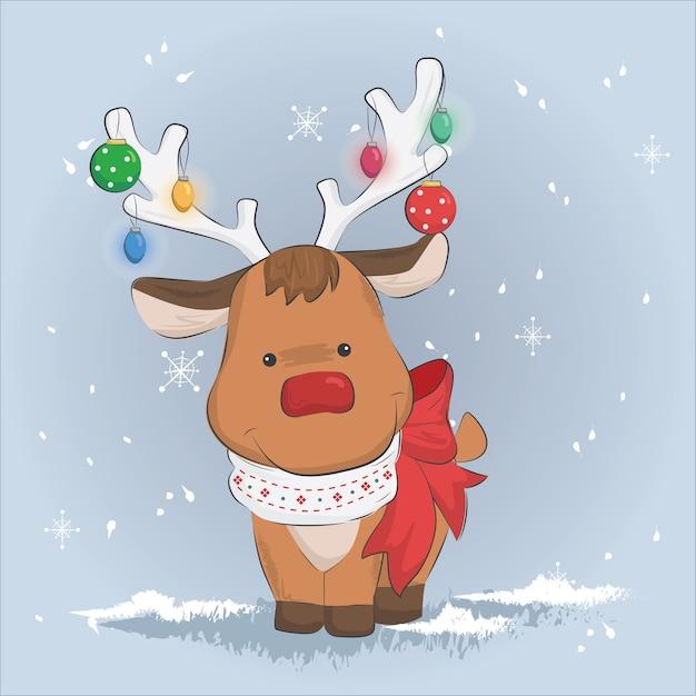 Immagini Carine Natale.Renne Carine A Natale Scaricare Vettori Premium