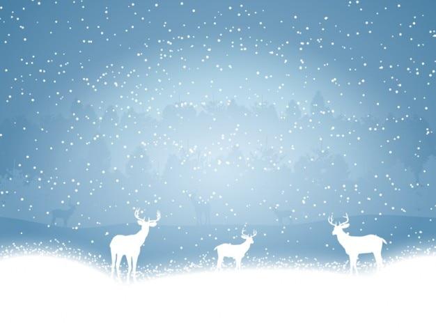 Renne Sulla Neve Sfondo Blu Scaricare Vettori Gratis