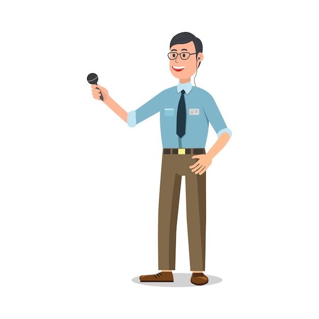 Reporter con microfono su bianco Vettore Premium