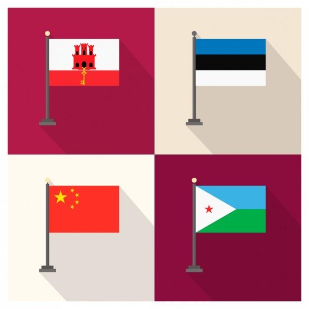 Repubblica gibilterra estonia popolare cinese e gibuti bandiere Vettore gratuito