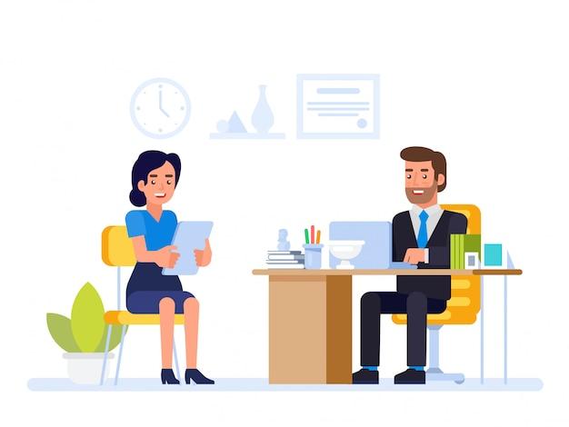 Responsabile delle risorse umane che incontra il candidato di lavoro nell'ufficio del direttore. Vettore Premium