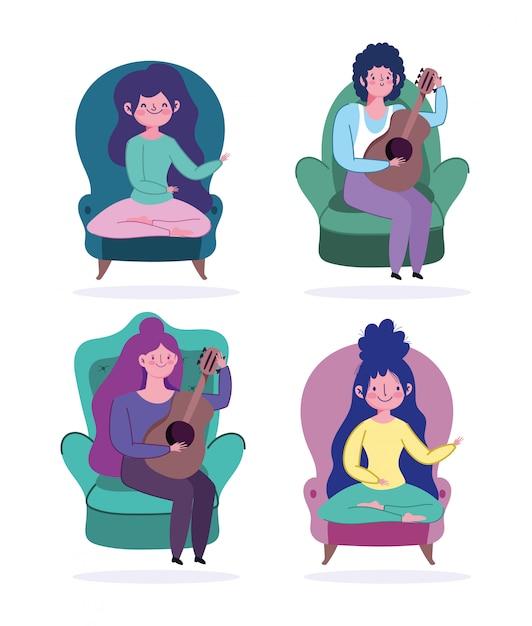 Resta a casa, cartone animato di persone seduto in poltrona con cartone animato per il tempo libero chitarra Vettore Premium