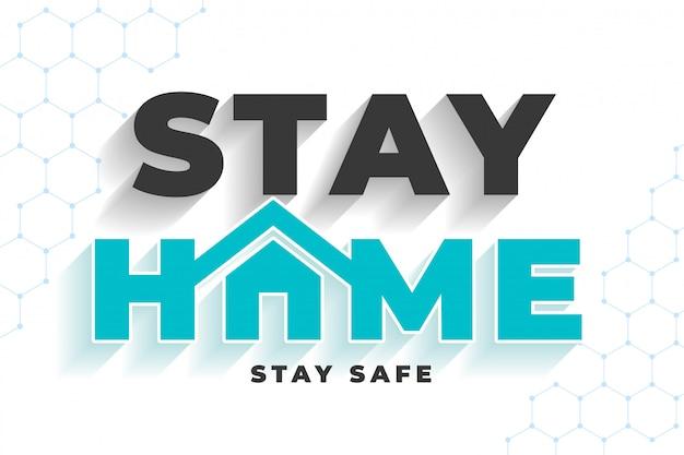 Resta a casa, resta sicuro messaggio per la protezione da virus Vettore gratuito