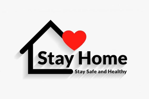 Resta a casa sicuro e sano poster design Vettore gratuito