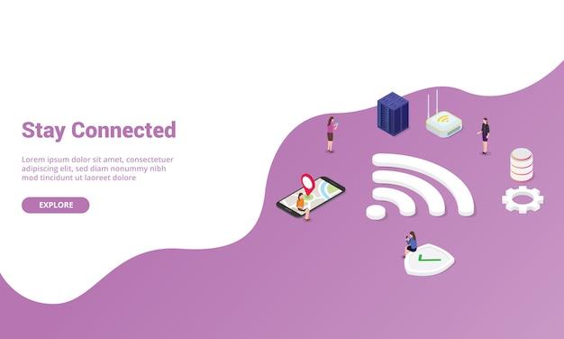 Resta connesso concetto con segnale wifi per modello di sito web o homepage di atterraggio con stile moderno isometrico Vettore Premium