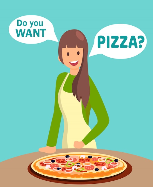 Restaurant waitress offering pizza illustration Vettore Premium