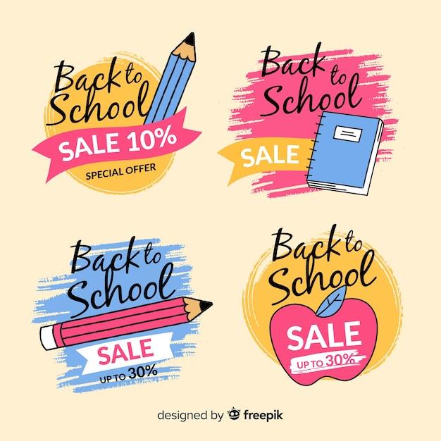 Restituito a mano alla collezione di badge delle vendite scolastiche Vettore gratuito