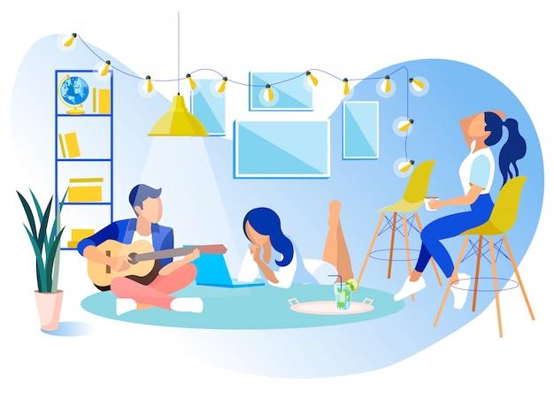Resto del partito pausa in coworking office flat Vettore Premium