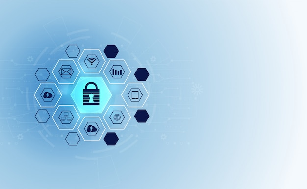 Rete di informazioni astratta tecnologia cyber sicurezza privacy icona Vettore Premium