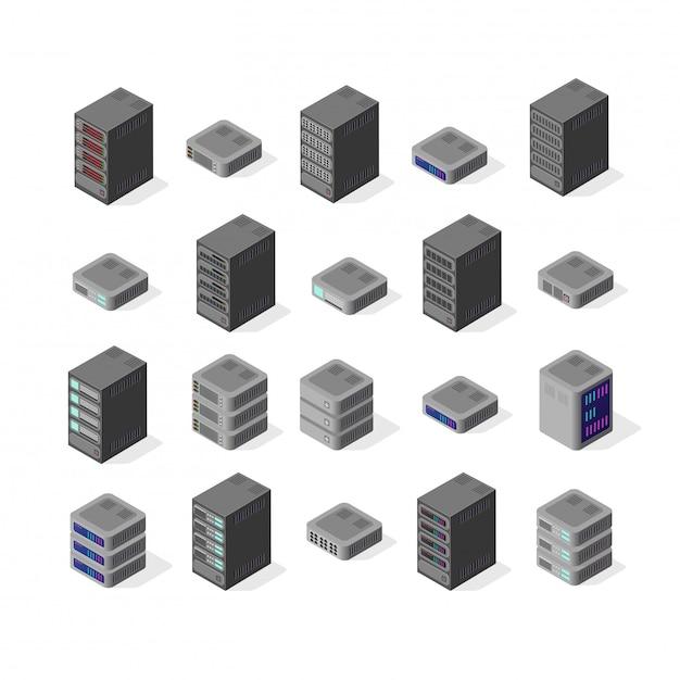 Rete di server di dati Vettore Premium