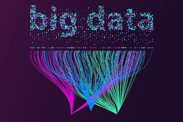 Rete di visualizzazione di big data. infografica futuristica, onda 3d, flusso virtuale, suono digitale, musica. Vettore Premium