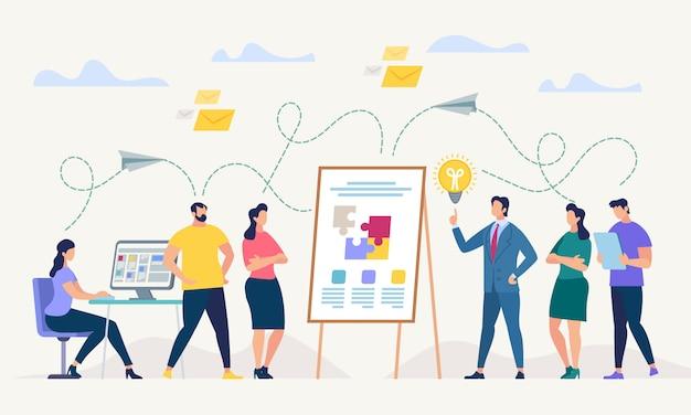 Rete e lavoro di squadra. illustrazione vettoriale Vettore Premium