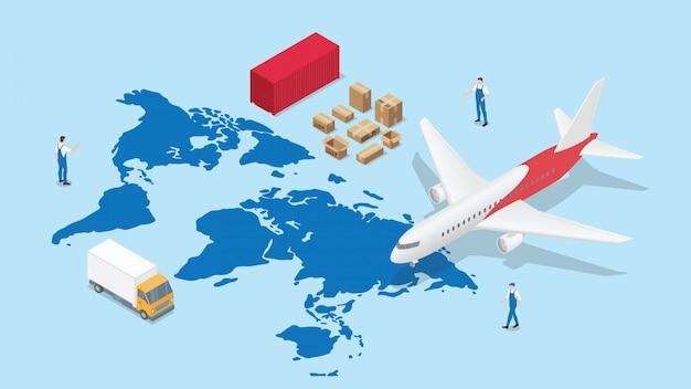 Rete logistica globale con mappa del mondo e trasporto aereo e container con moderno stile isometrico Vettore Premium