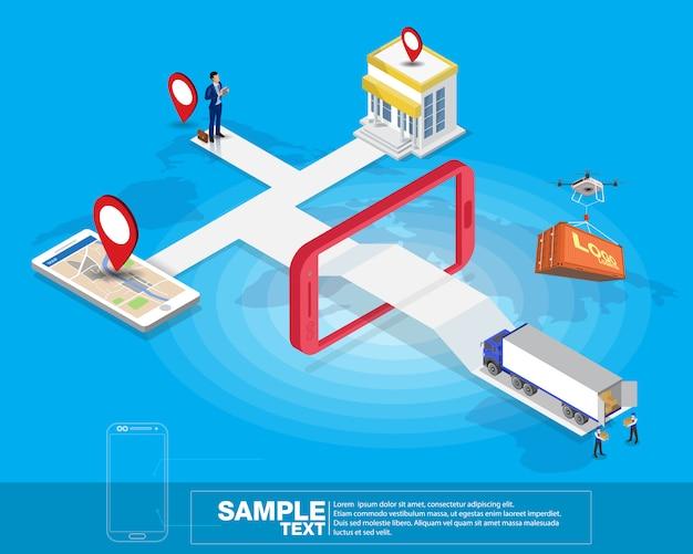 Rete logistica mobile intelligente isometrica Vettore Premium