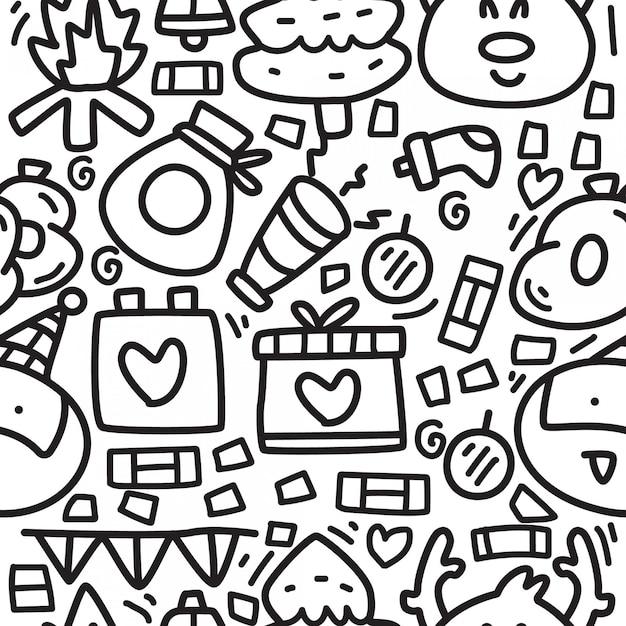 Reticoli di disegno del fumetto di doodle di natale Vettore Premium