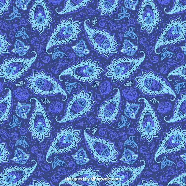 Reticolo blu di paisley floreale bstract Vettore gratuito