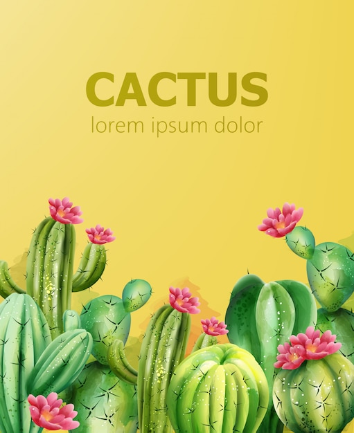 Reticolo del cactus su priorità bassa gialla con il posto per testo. cactus con fiore Vettore gratuito