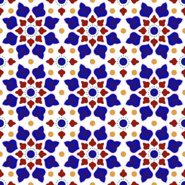Reticolo delle mattonelle dell'annata con patchwork colorato Vettore Premium