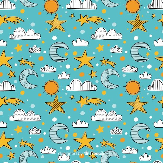 Reticolo di doodle del cielo disegnato a mano Vettore gratuito
