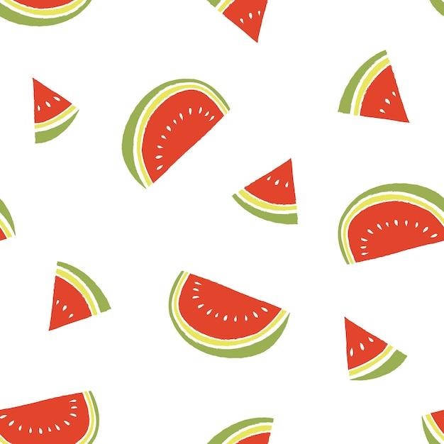 Reticolo di estate fetta di anguria Vettore Premium