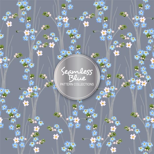 Reticolo di fiore blu senza giunte Vettore Premium