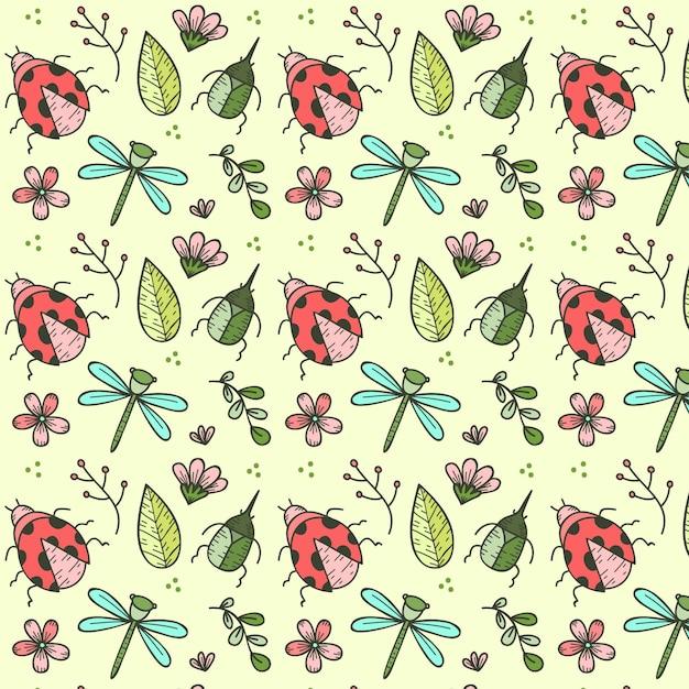 Reticolo di insetti e fiori disegnati a mano Vettore gratuito